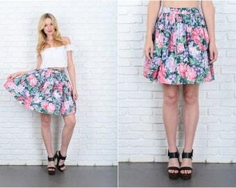 Vintage 80s Green + Pink Floral print Skirt Full Mini high Waist XS Small S 9405