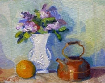 Lilacs Small Still Life Oil Painting on Canvas Impressionist Art