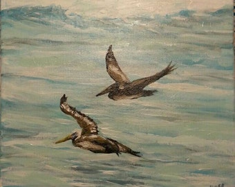 """Pelicans  in Flight 12"""" x 12"""""""