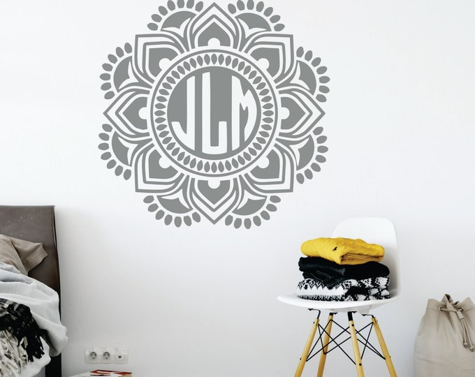 Boho Decal -   Mandala Monogram Decal  Boho Wall Art - Dorm Room Decor - Nursery vinyl Decal