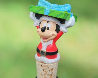 Mickey Mouse Wine Bottle Stopper Santa Suit in Present