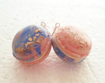French Macaroon Earrings. Candy Floss. Polymer Clay.
