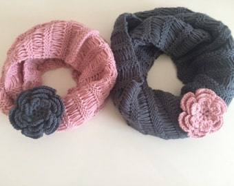 Knit Mommy and Me Infinity Scarf, Mother Daughter Scarf Set