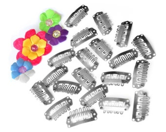 20 Weft Clips in 28mm Silver for Hair Bows, Cosplay, Wig Repair, Feather Extension Clips, Snap Combs, etc.