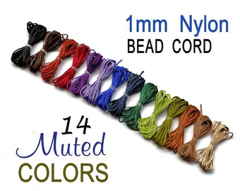 Nylon Bracelet Cord - Custom Blythe PullCord - in 14 Muted Colors for Micro Macrame Jewelry, Beading