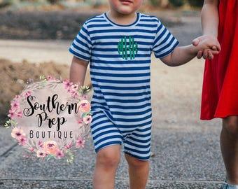 Boy's Custom Monogram Romper - Navy & White - Summer outfit - Monogrammed Romper / Jon Jon- Shower gift - Summer Bubble