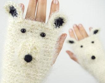 Polar Bear Fingerless Gloves (Glittering) ~ Handmade