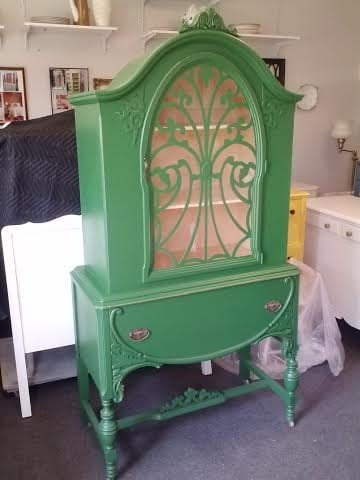 vintage painted shabby chic china cabinet, rustic, farmhouse, country, beach cottage storage breakfront, hutch