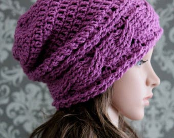 Crochet PATTERN - Crochet Hat Pattern - Crochet Hats for Women - Crochet Hats for Kids - Crochet Cables - 4 Sizes Baby to Adult - PDF 415