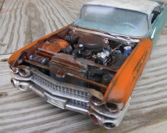 Rusted Wreck, Rat Rod, Green Cadillac,Classicwrecks,Scale Model