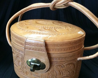 Beautiful Oval Tooled Light Leather Purse