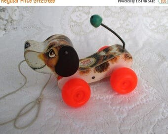 MAY SALE 50% Off Vintage Snoopy Dog Wooden Fisher Price 693...1960s Pull Toy