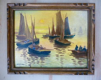 Vintage French Oil Painting, Signed 1935, Brittany Bretagne, Framed Painting, Coastal Sailboats on Board