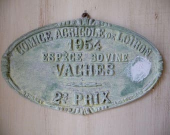 Vintage French Wall Hanging 1954 French Agricultural Award Prize Plaque Vintage French Trophy French Metal Sign