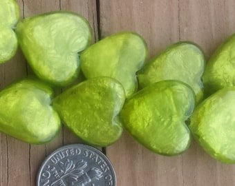 Strand of 14 Capiz Shell Lime Green Heart Beads 17mm x 17mm