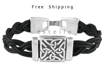 Celtic jewelry bracelet - Celtic bracelet - Celtic knot leather bracelet - Gift idea for him, for her - Custom made - Antique - Hand braided