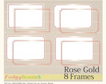 on sale digital rosegold frame line frames rectangle rose gold clipart digital scrapbooking frames rose gold a 2 pink gold frame