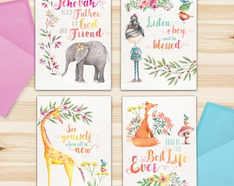 Best Life Animals - Package of 4 Greeting Cards