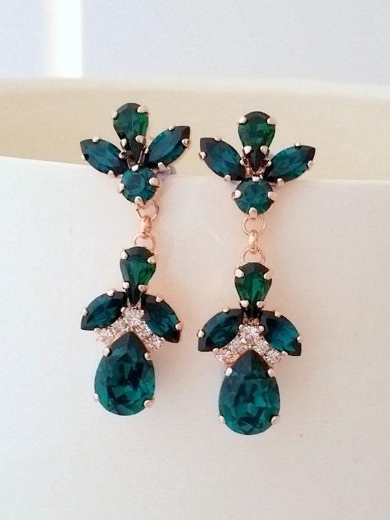 Emerald earringsEmerald green chandelier earringsemerald