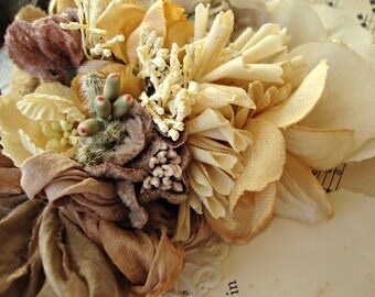 Antique Vintage Velvet Millinery Flowers Posy - #59