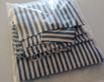 Scrap Bag fabric woven Ticking Stripe in blues and natural, collage, quilting, play, doll clothes
