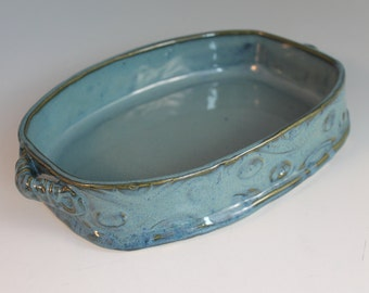 Blue Casserole Dish - baking pan - pottery and ceramics - gift for baker