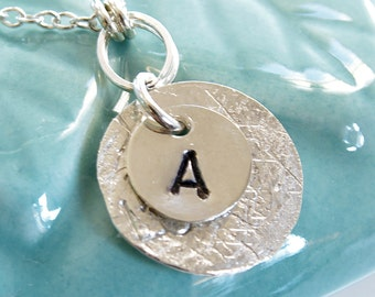 Initial Necklace Letter Pendant Sterling Silver Monogram Circle Personalized Charm Mom Mothers Day Delicate Chain Handmade Jewelry By SS