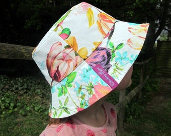 Tulip hat - made to order -  floral beach summer bucket hat roses cotton by Climbing Rose