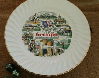 Mid Century Georgia Souvenir Plate - Retro Decorative Wall Art of the Peach State, Collectible Platters, Mid Century Wall Decor, Peach State