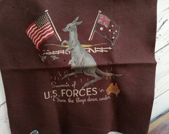 Historical Vintage WWII Australian + US Forces Decorative Felt Pennant - Antique World WarII Keepsake, Home Decor, Antique OOAK History Gift