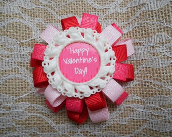 Happy Valentines Day loopy flower hair bow
