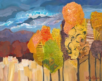 Trees, original landscape painting in mixed media