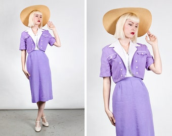 Vintage 1940s Rousse Purple Resort Wear / Leisure Suit / Ladies Sportswear