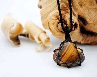 Unique Boyfriend gifts, Small guys pendant, Macrame Tiger's Eye necklace, Healing stone necklace for him, Boho jewelry for men FREE SHIPPING