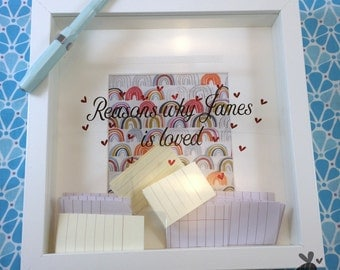 Love letter box, rainbows and hearts, reasons why you are loved, gratitude, gifts for lovers, postal frame, wedding gift, engagement gift