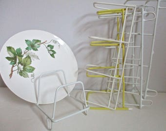 Dish Rack, 4 Plastic Coated Wire White Retro Kitchen Organization,Metal Drying Plate Display,Unique Office Library Display, Photograpy Props