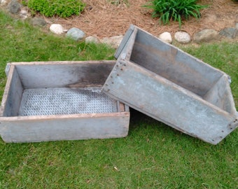 Vintage Handcrafted Wood and Metal Crates - Industrial Crates - Farmhouse Crates