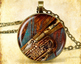 """Sax Route 66 Art Print Pendant (Approx 1.5"""" diameter) with 24"""" Chain, Nickel Free"""