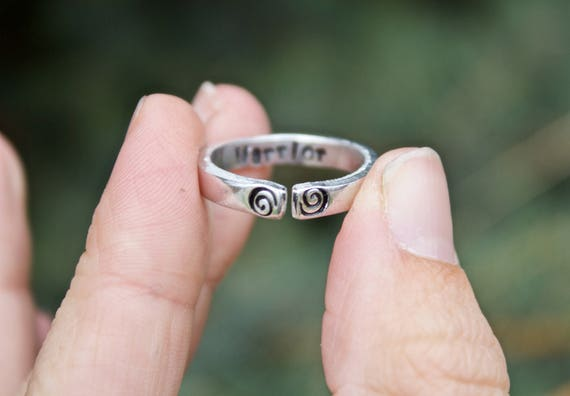 Warrior Stacking Mantra Ring, Adjustable Ring, Hand-Stamped Warrior Ring, Stackable Ring, Inspiration Inside, Be a Warrior Jewelry, Mantras