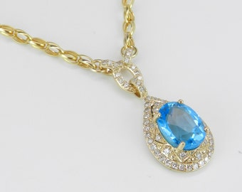 """Diamond and Blue Topaz Halo Necklace Pendant 17"""" Yellow Gold Chain Wedding Gift"""