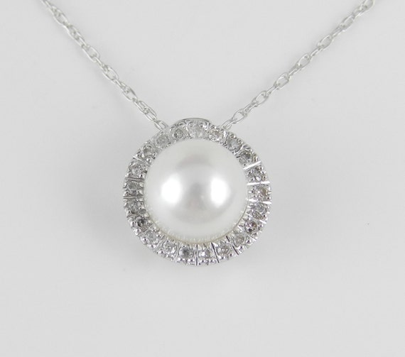 "Pearl and Diamond Halo Pendant Necklace White Gold 18"" Chain June Birthstone"