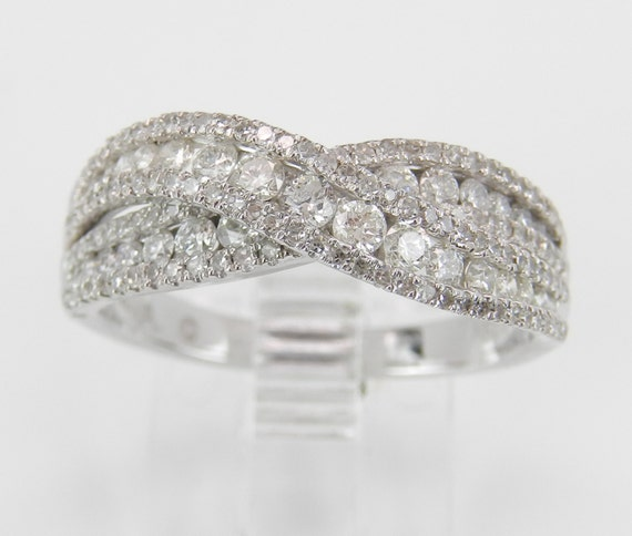 1.25 ct Diamond Wedding Ring Anniversary Band Crossover Ring White Gold Size 7