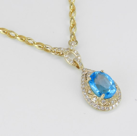 "Diamond and Blue Topaz Halo Necklace Pendant 17"" Yellow Gold Chain Wedding Gift"