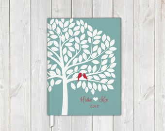 Love Birds in Tree Wedding Guest Book in Light Teal and Red - Personalized Traditional Guestbook, Journal, Album