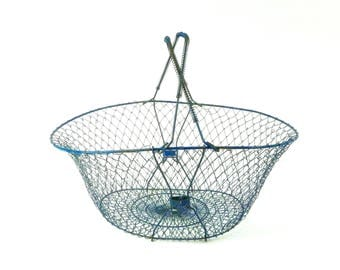 Collapsable Wire Mesh Basket, Vintage Market Basket, Farmhouse Decor