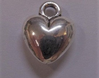 12mm Silver Toned Heart Charms 5CT.  Y4