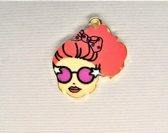 22mm*18mm 5CT. Lady wearing sunglasses Charms, Fashion Charms, Y55
