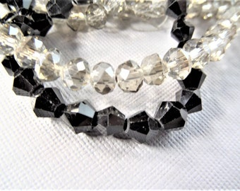 6mm solid black bicone 50CT ab beads or 5mm transparent grey/ silver rondelle ab beads 50CT, S9R