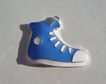 43mm Blue and White Sneaker Pendant, Tennis Shoe, Enamel Pendant,  N40