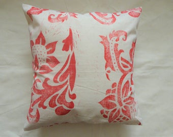 Red block printed cushion cover
